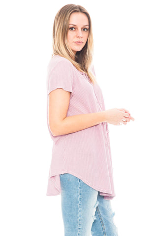 Shirt - Lace Up Waffle Knit Tee with a Keyhole Back by Paper Crane