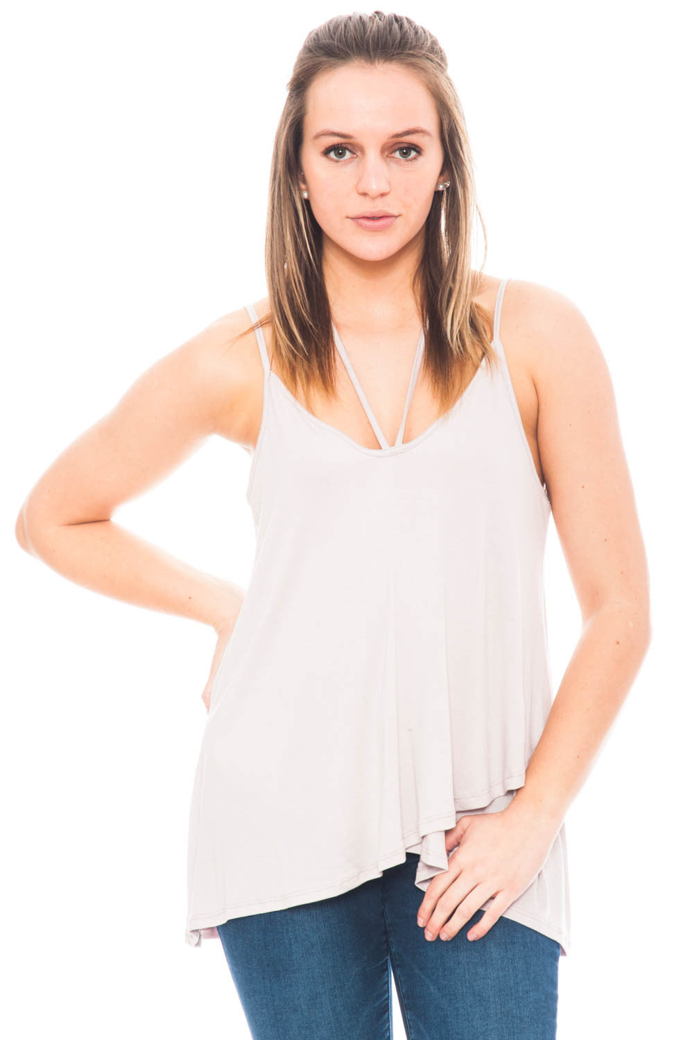 Tank - Layered Front Top with Halter Tie by Lush