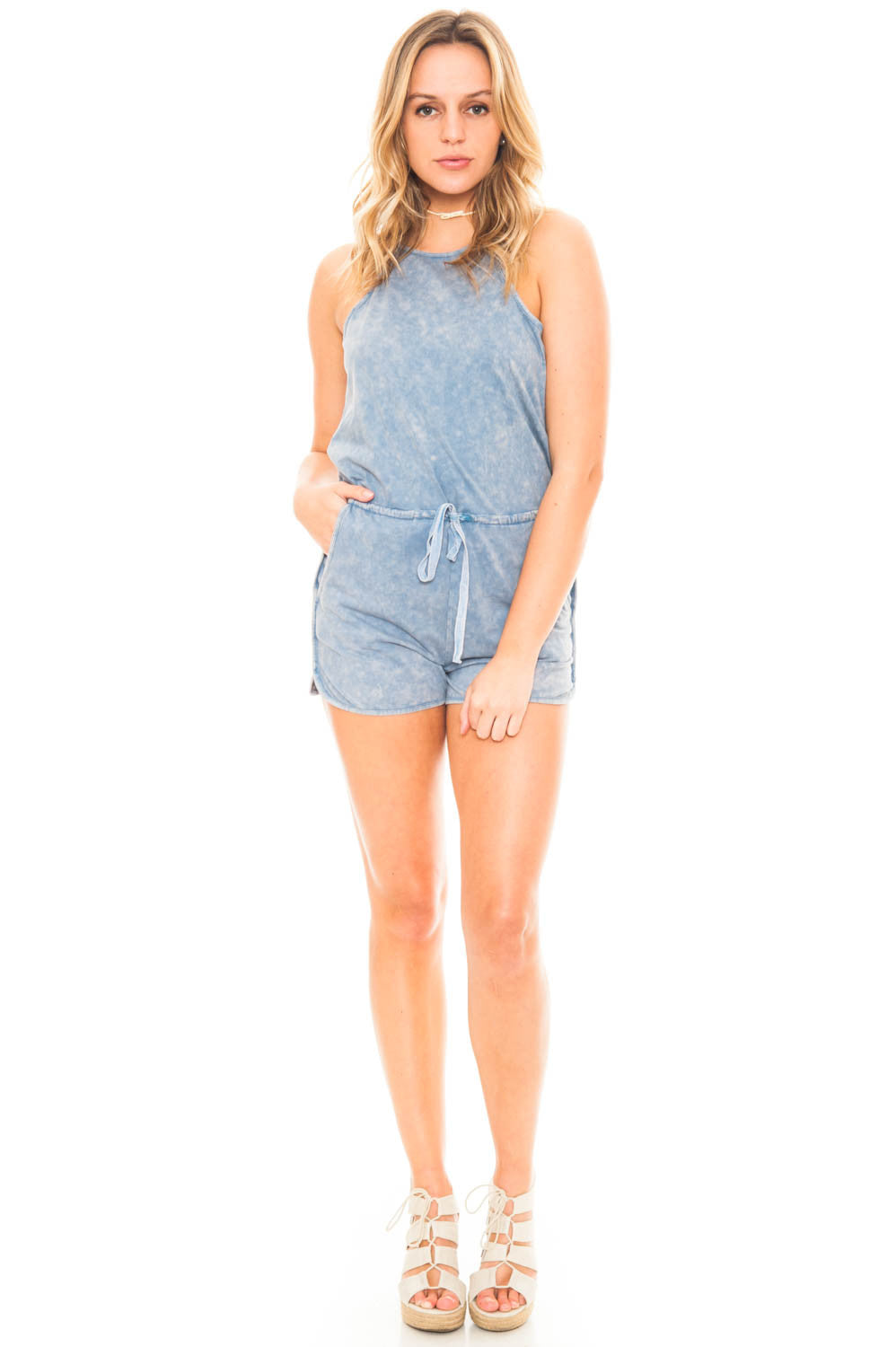 Romper - High Neck Romper with a Tie Waist