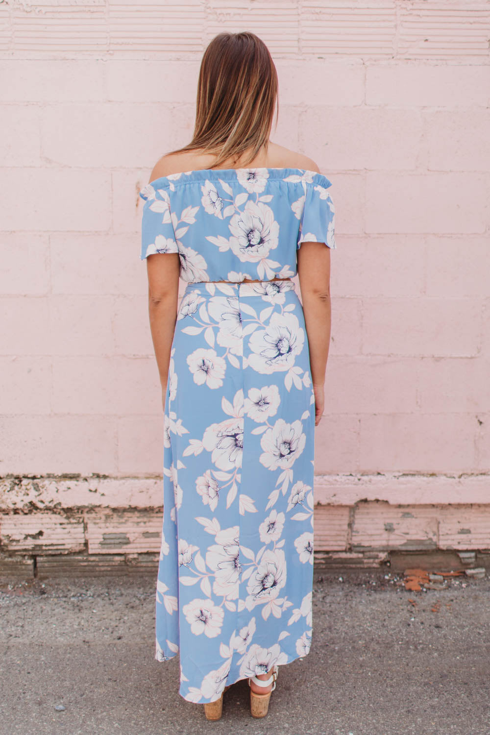 Skirt - Floral Wrap Maxi Skirt with Slit