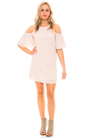 Dress - Layered Bell Sleeve Dress with Shoulder Cutouts