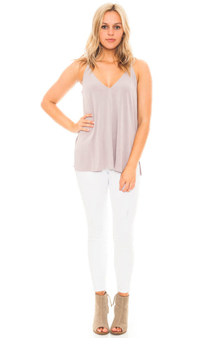 Tank - V-Neck Cami  with Side Slits by Lush