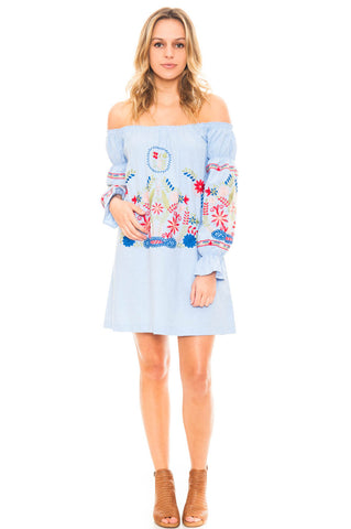 Dress - Off Shoulder Embroidered Dress with a Puffed Sleeve