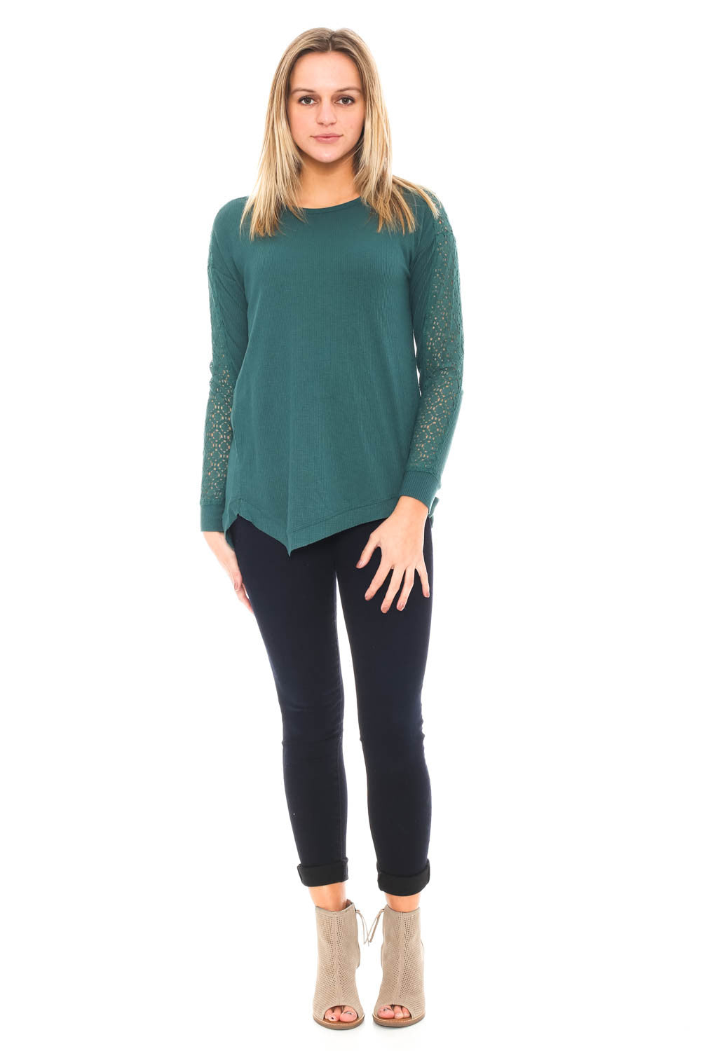 Blouse - Waffle Knit Top with Lace Arm Detail By Democracy