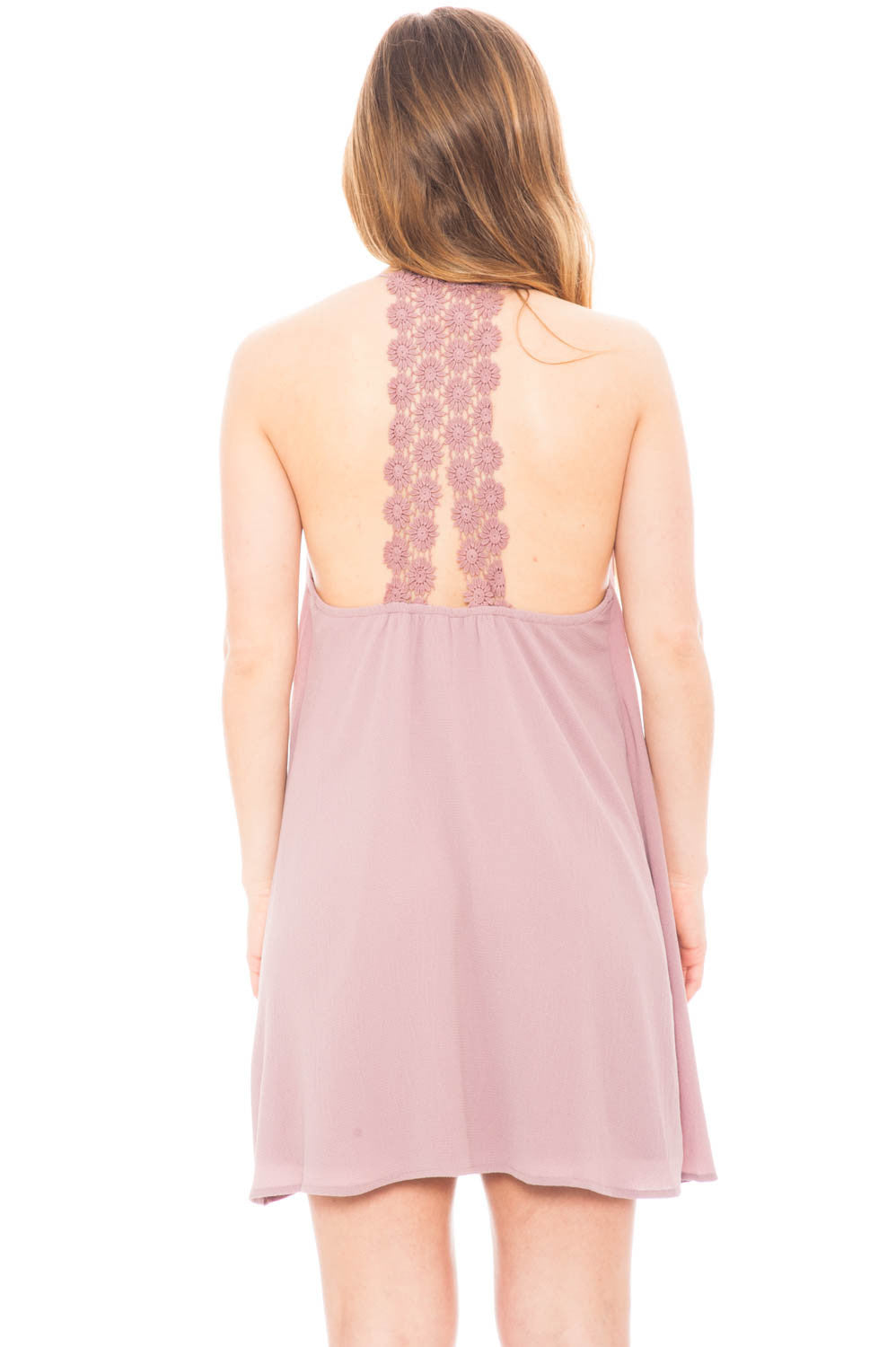 Dress - Chiffon Low Back Dress with Crochet Detail