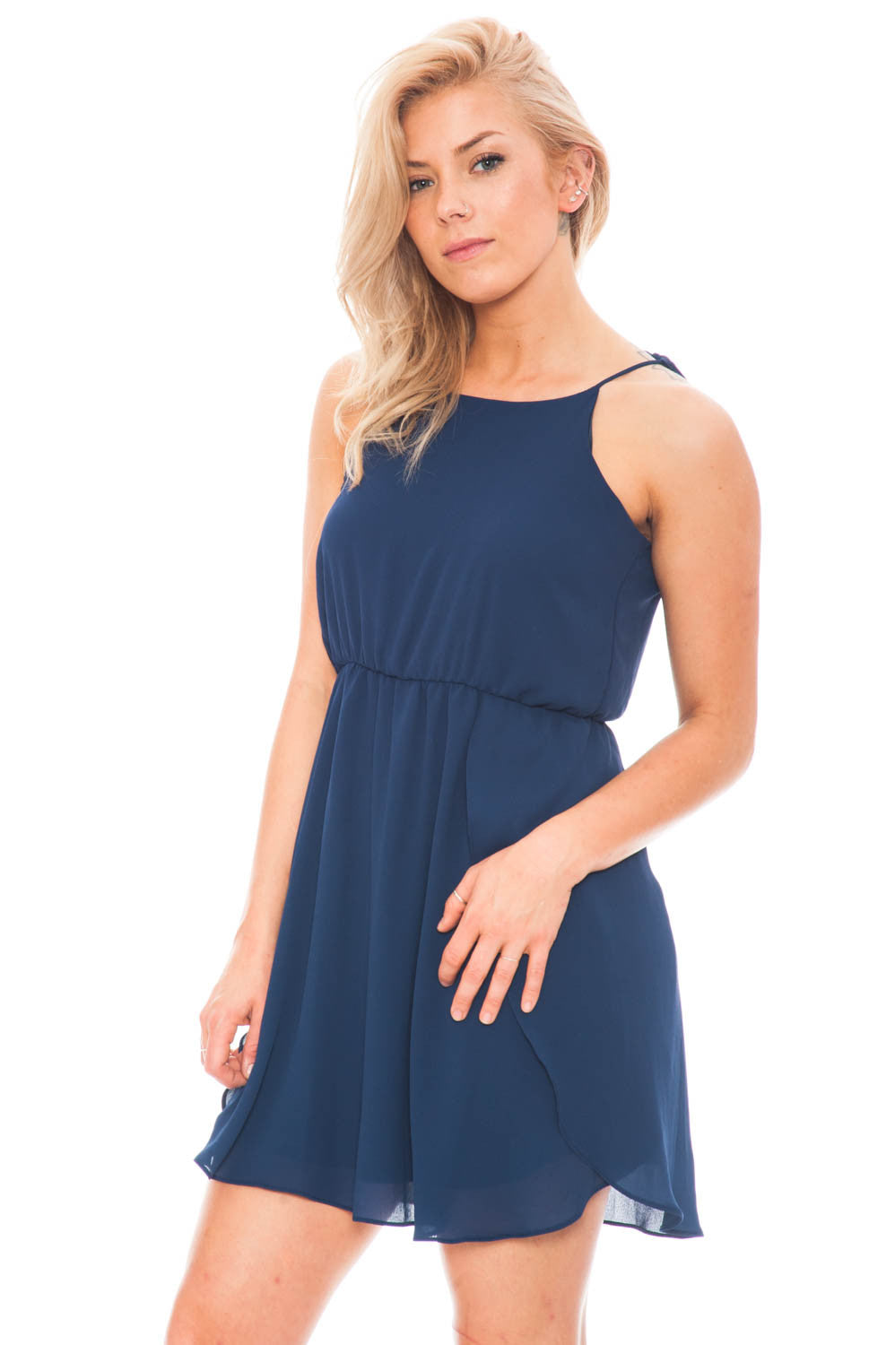Dress - Chiffon Dress with Adjustable Neckline by Everly