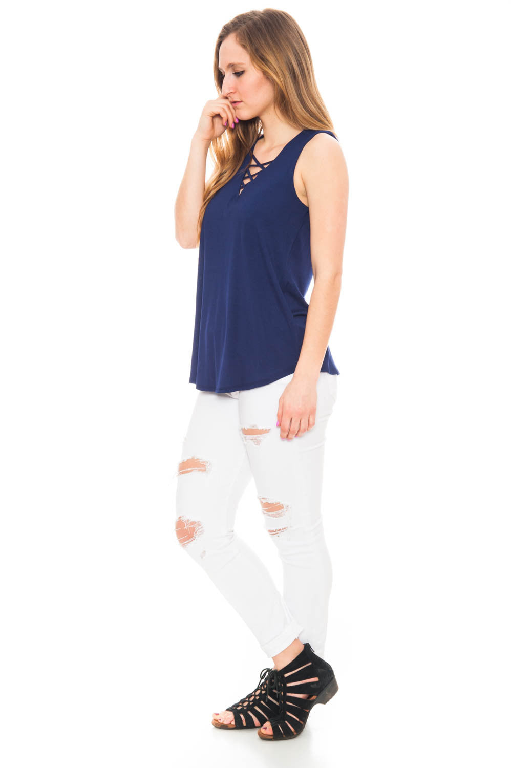 Tank - Lace Up Front V-neck Top