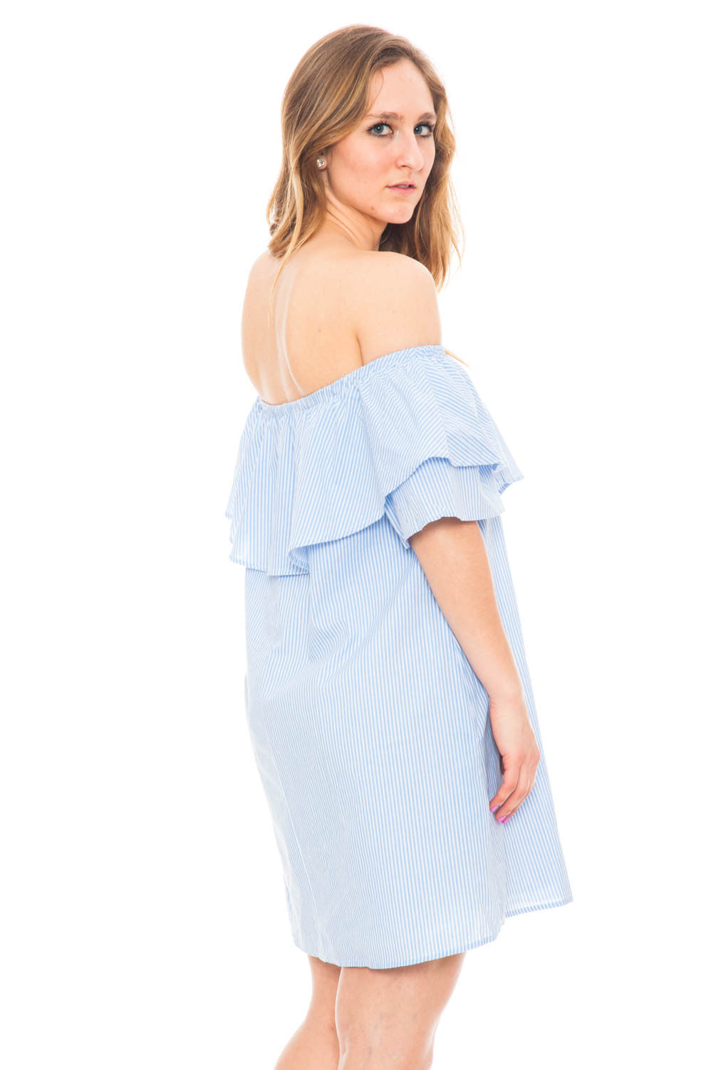 Dress - Off Shoulder Ruffle Dress with Pockets
