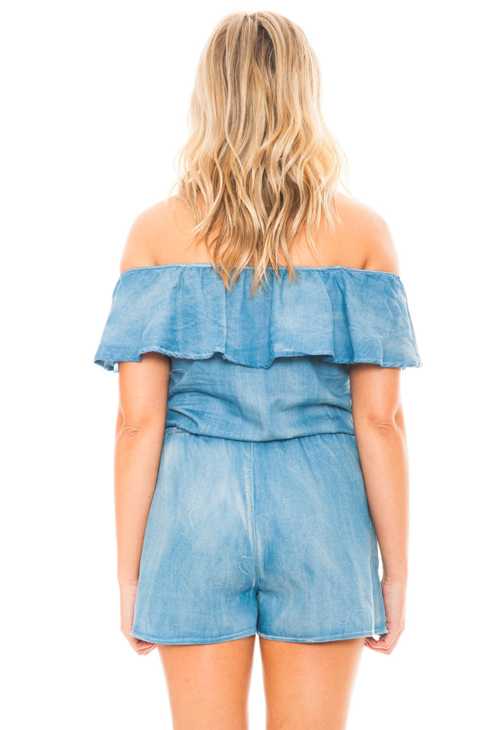 Romper - Ruffled Off Shoulder Embroidered Romper