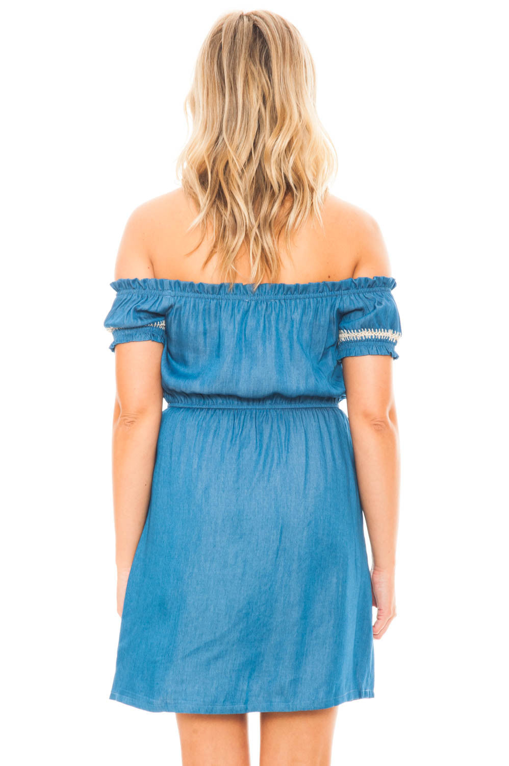 Dress - Embroidered Off Shoulder Denim Dress by Lush