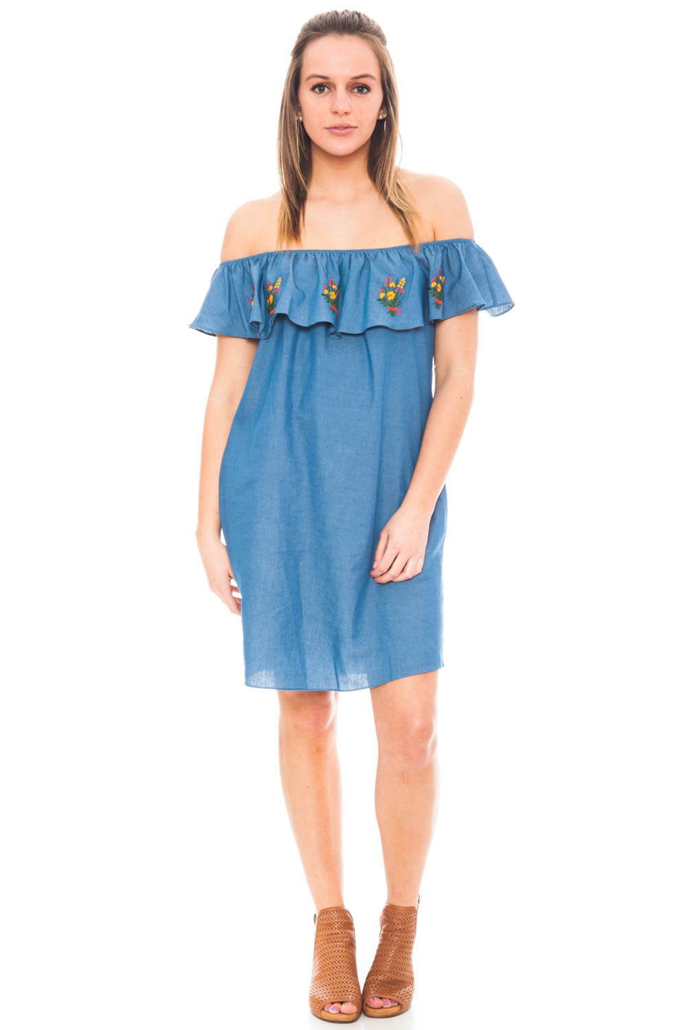Dress - Embroidered Off Shoulder Dress by Everly