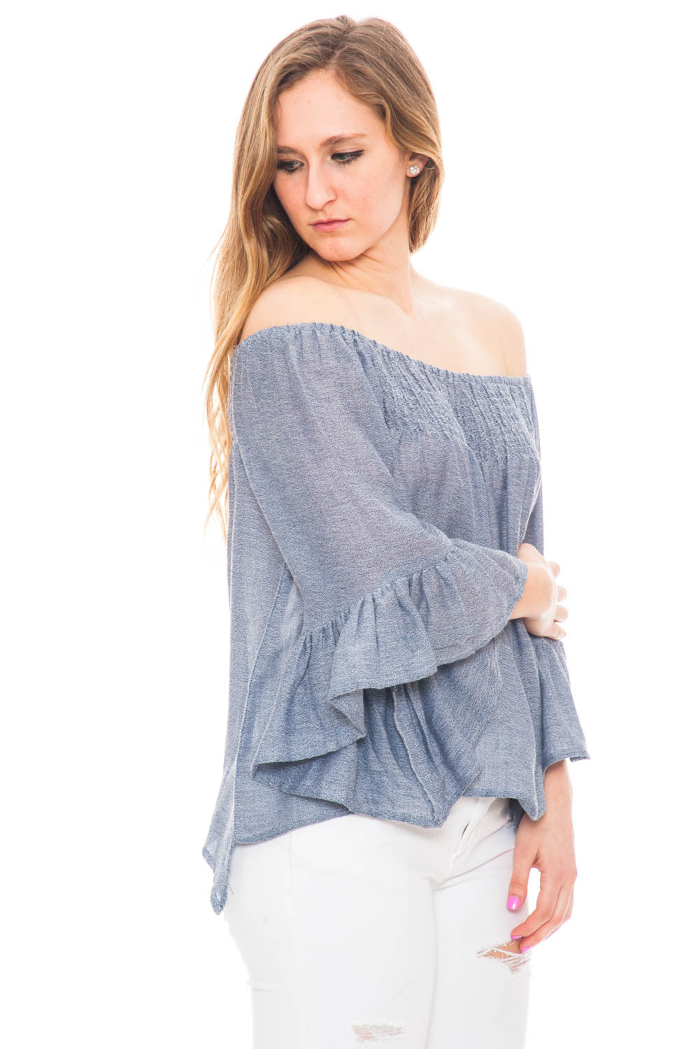 Shirt - Off Shoulder Flared Sleeve Top