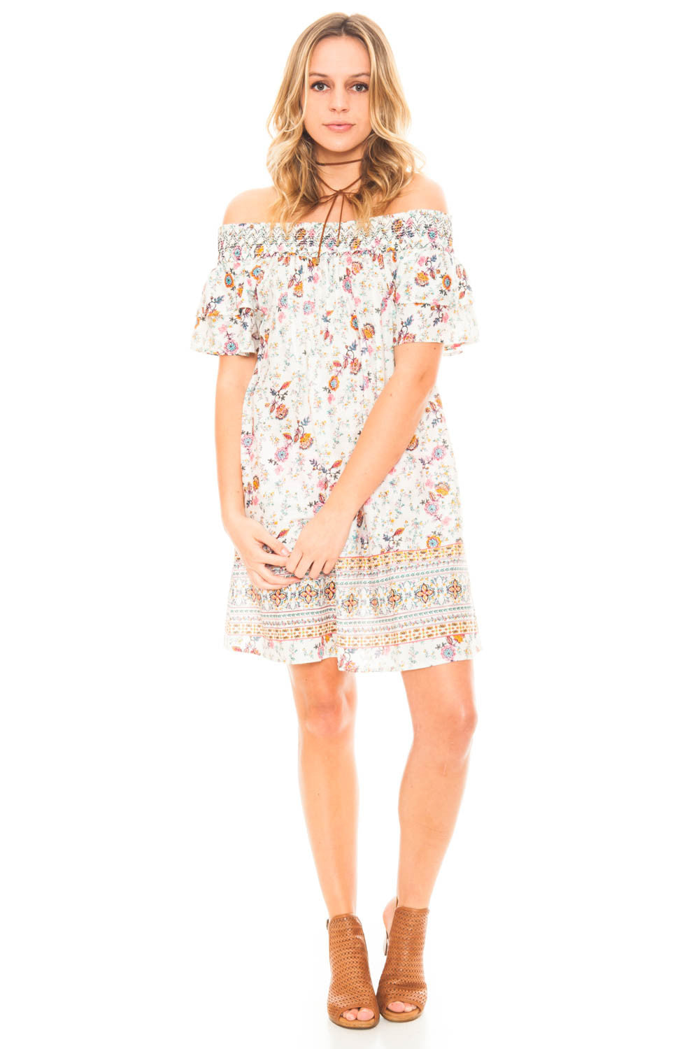 Dress - Off Shoulder Printed Dress with a Ruffled Sleeve by En Creme