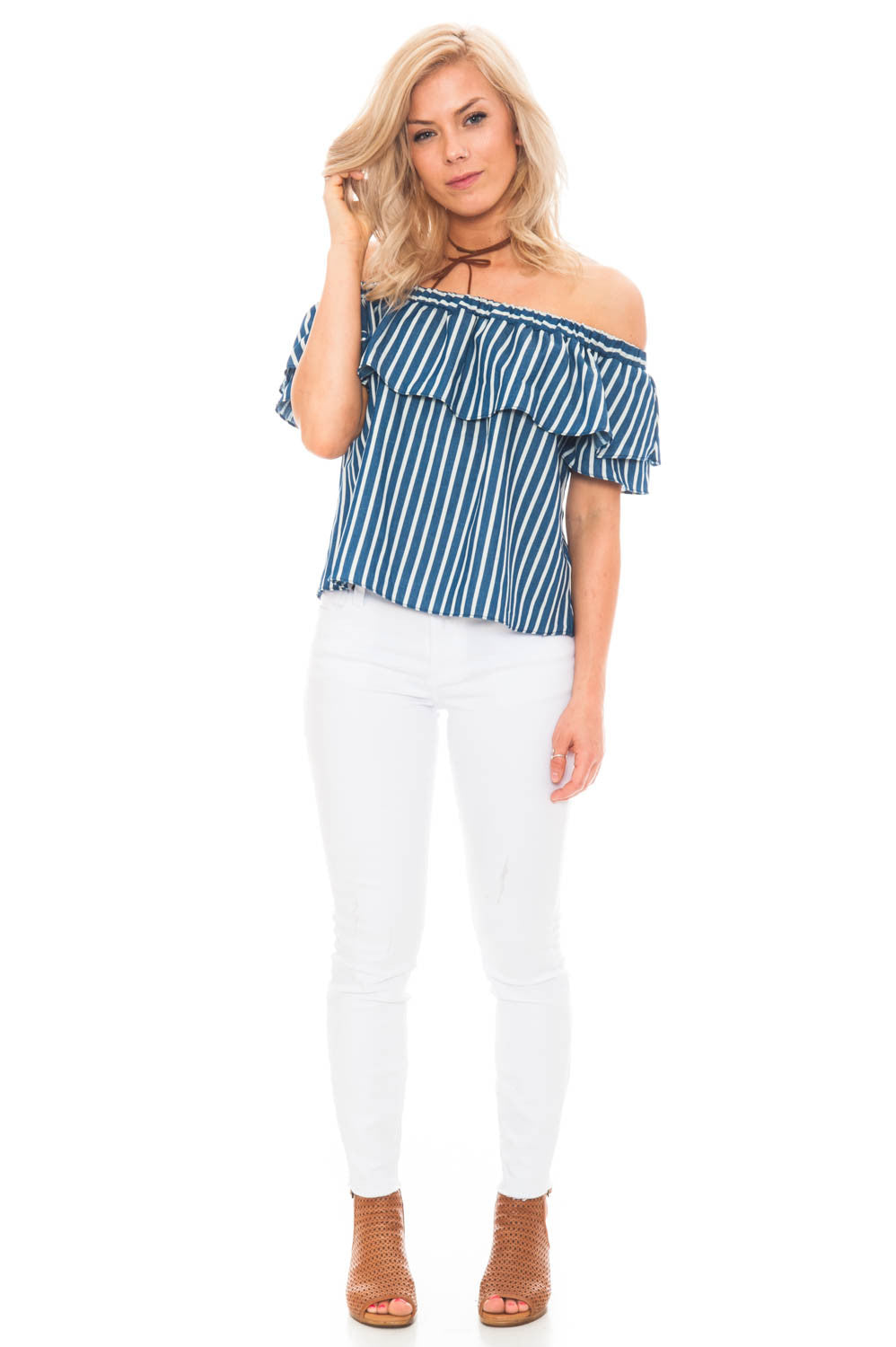 Crop - Off Shoulder Ruffle Top by Everly