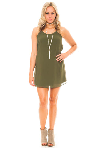 Dress - Racerback Chiffon Dress with a Tie Waist
