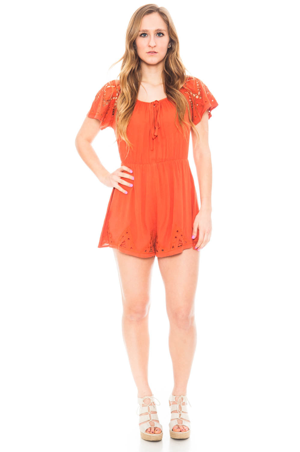 Romper - Embroidery Detail Romper with a Cinched Waist by Lush