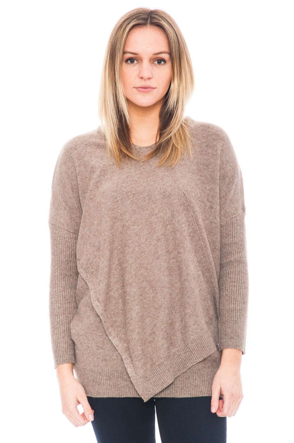 Sweater - Asymmetrical Cut Tunic with an Overlap Front