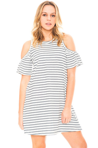 Dress - Peep Shoulder Dress With a Flared Sleeve