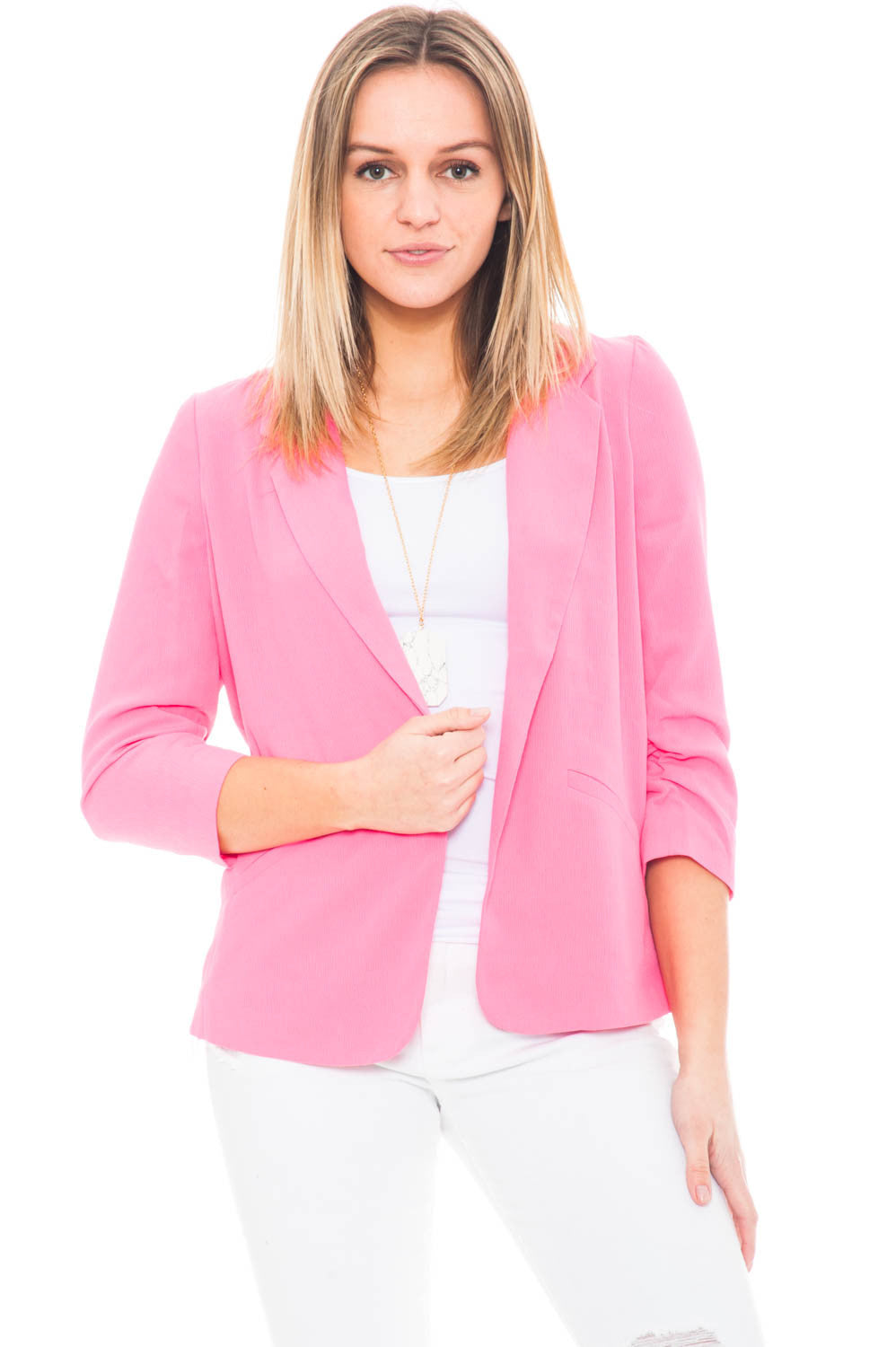 Jacket - 3/4 Sleeve Crepe Blazer with Cinched Sleeves