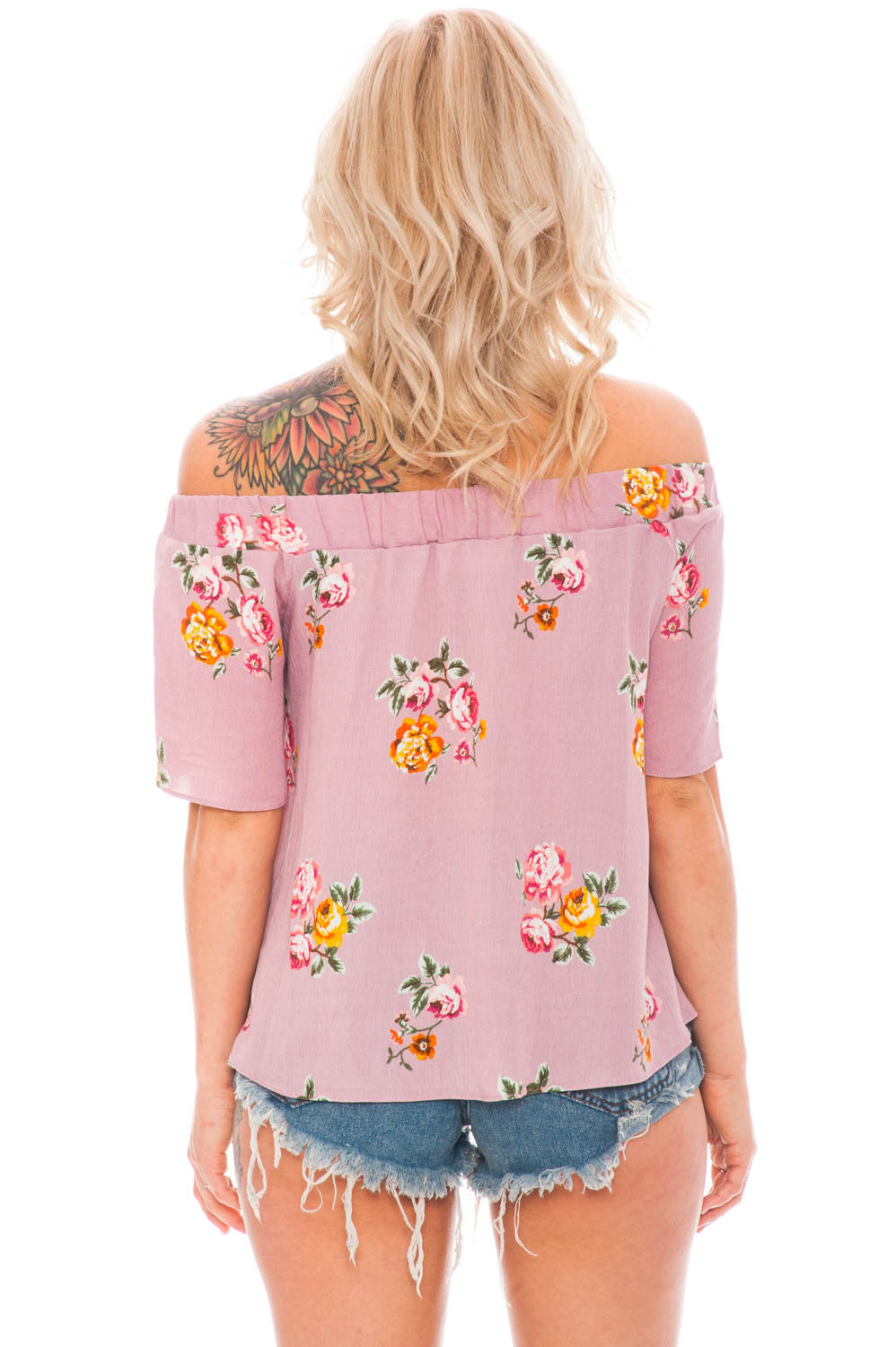 Blouse - Off Shoulder Floral Top by Everly