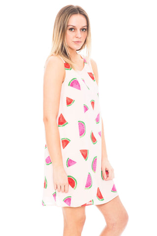 Dress - Watermelon Shift Dress with Strappy Back Detail by Everly