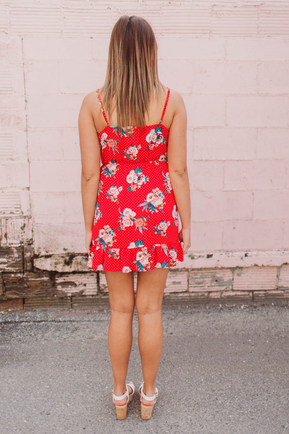 Dress - Floral Wrap Dress with Ruffles