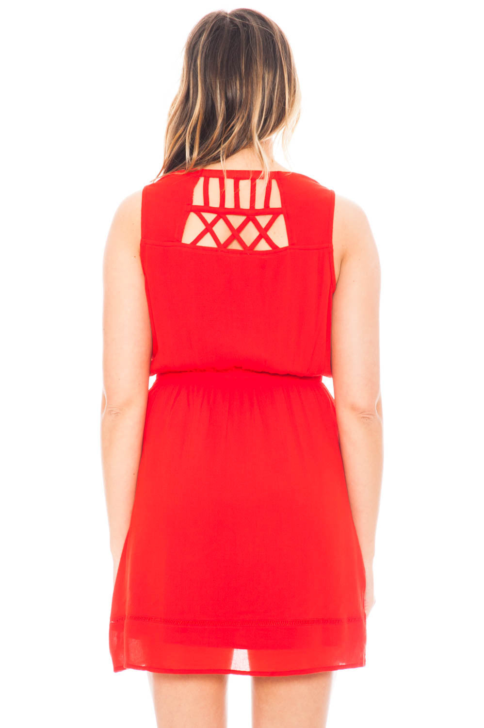 Dress - Lattice Detail V-neck Dress with Strappy Back Detail