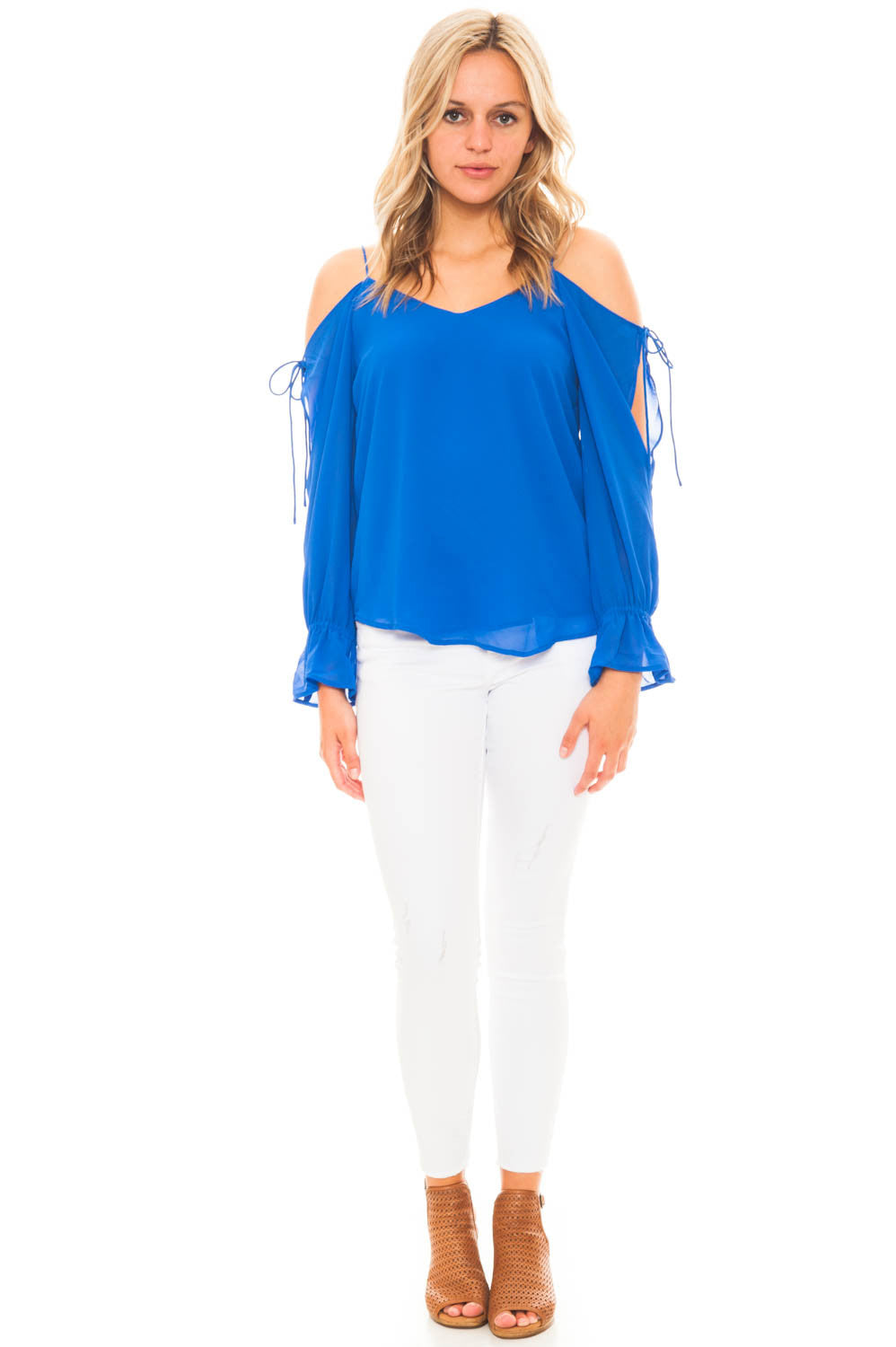 Blouse - Cold Shoulder Top with Lace Up Sleeves