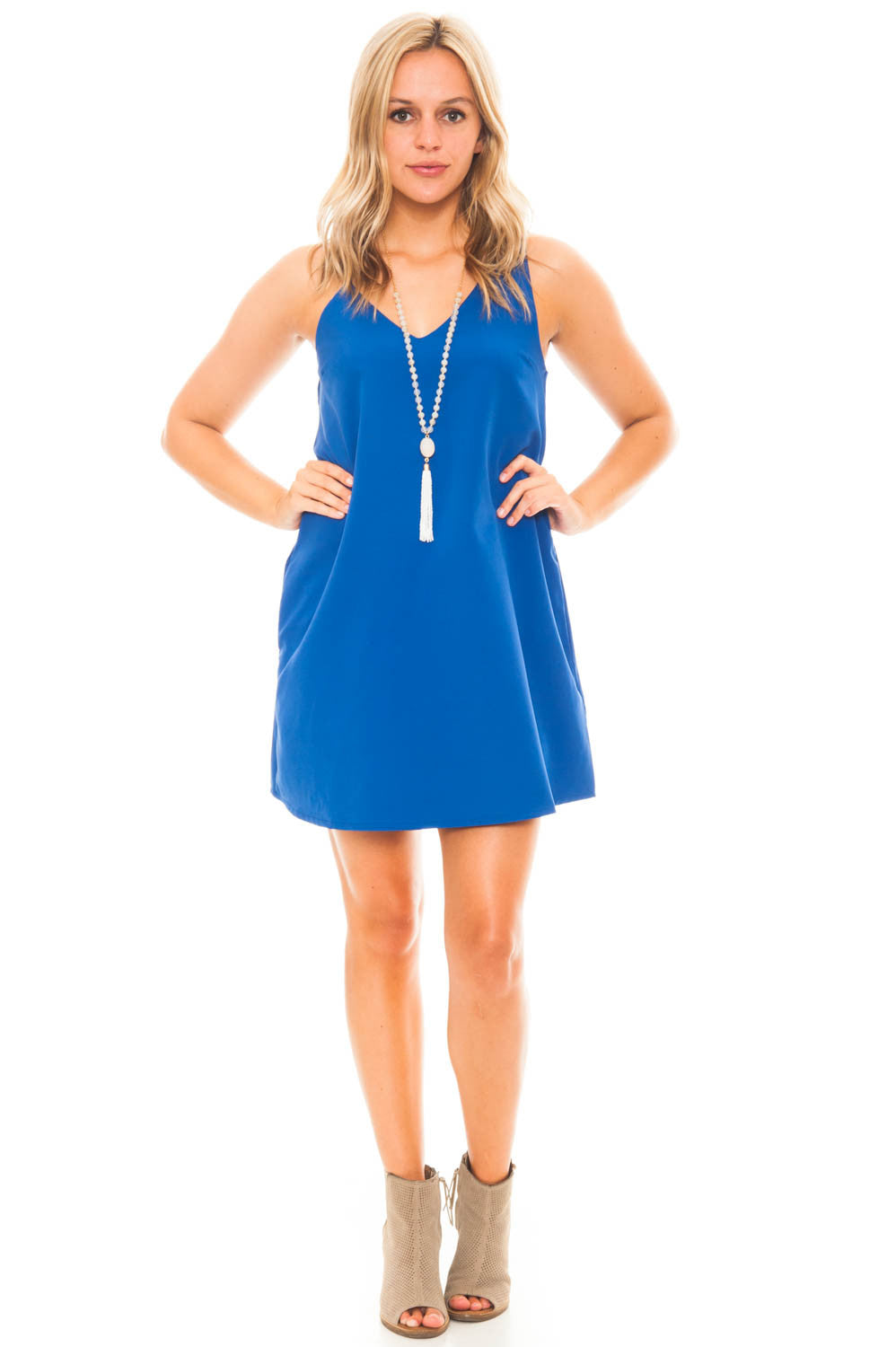 Dress - Chiffon V-Neck Dress with Pockets