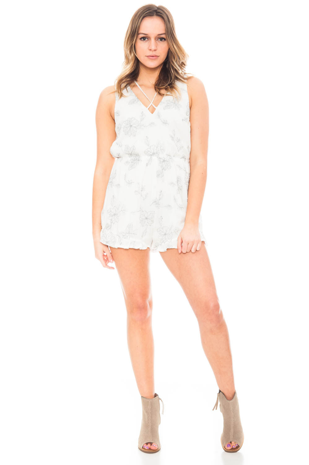 Romper - Sweet Love Romper with Floral Embroidery and Ruffle Detail by Lush