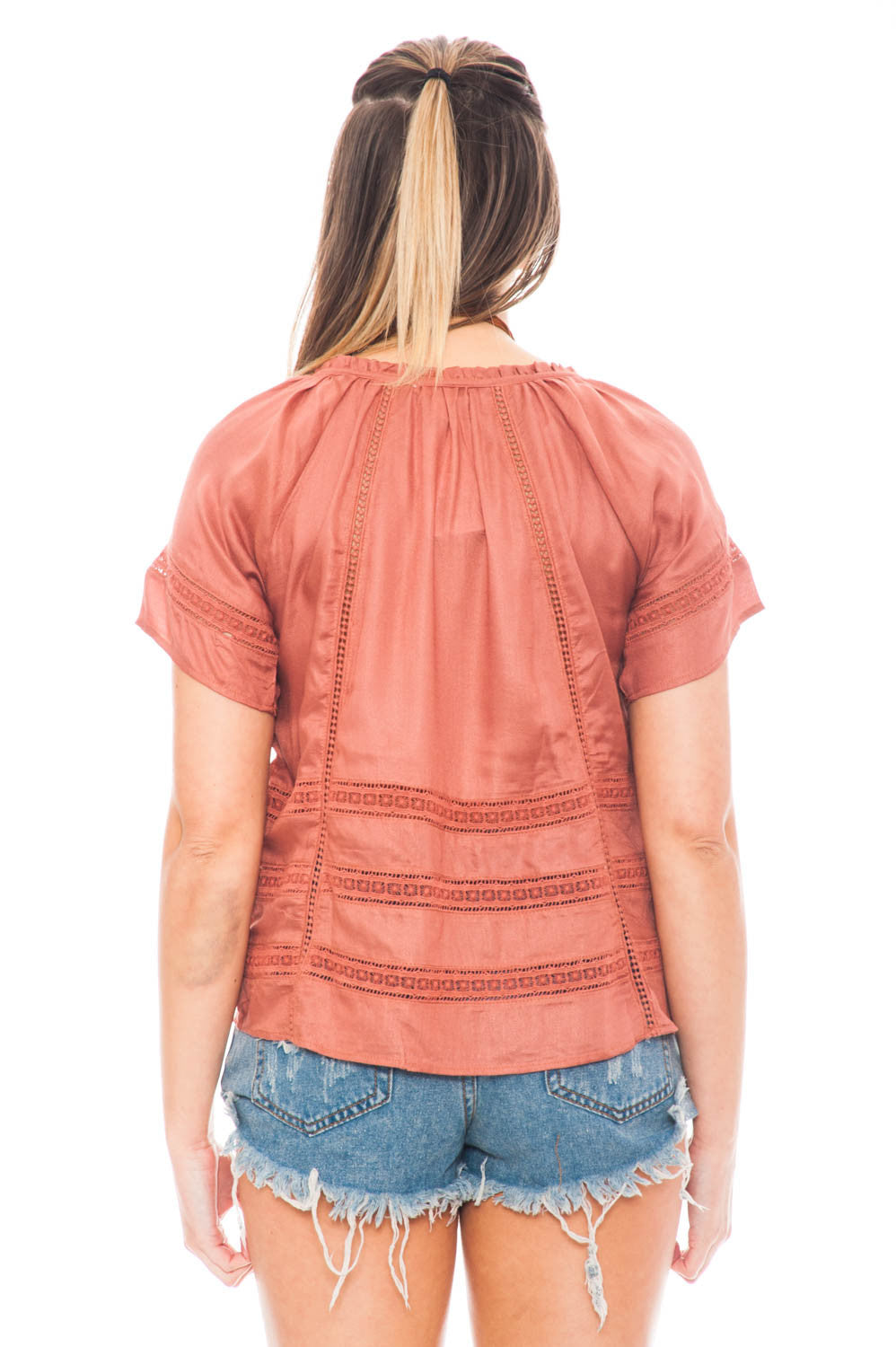 Blouse - Boho Woven Top with Tassels
