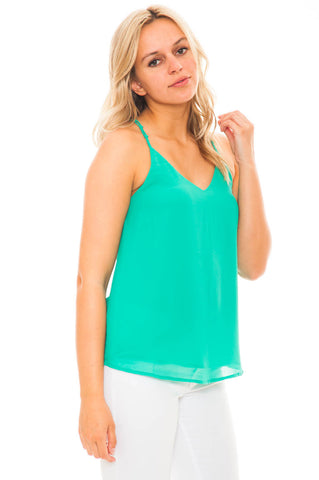 Blouse - Double Strap V-neck Chiffon Tank