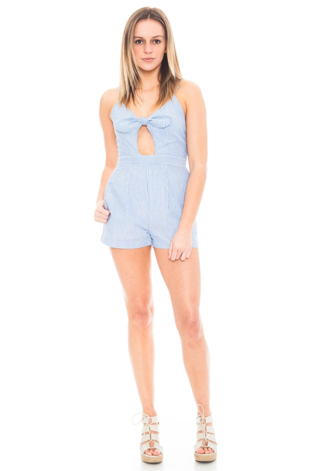 Romper - Seersucker Romper with Bow Front Tie Everly