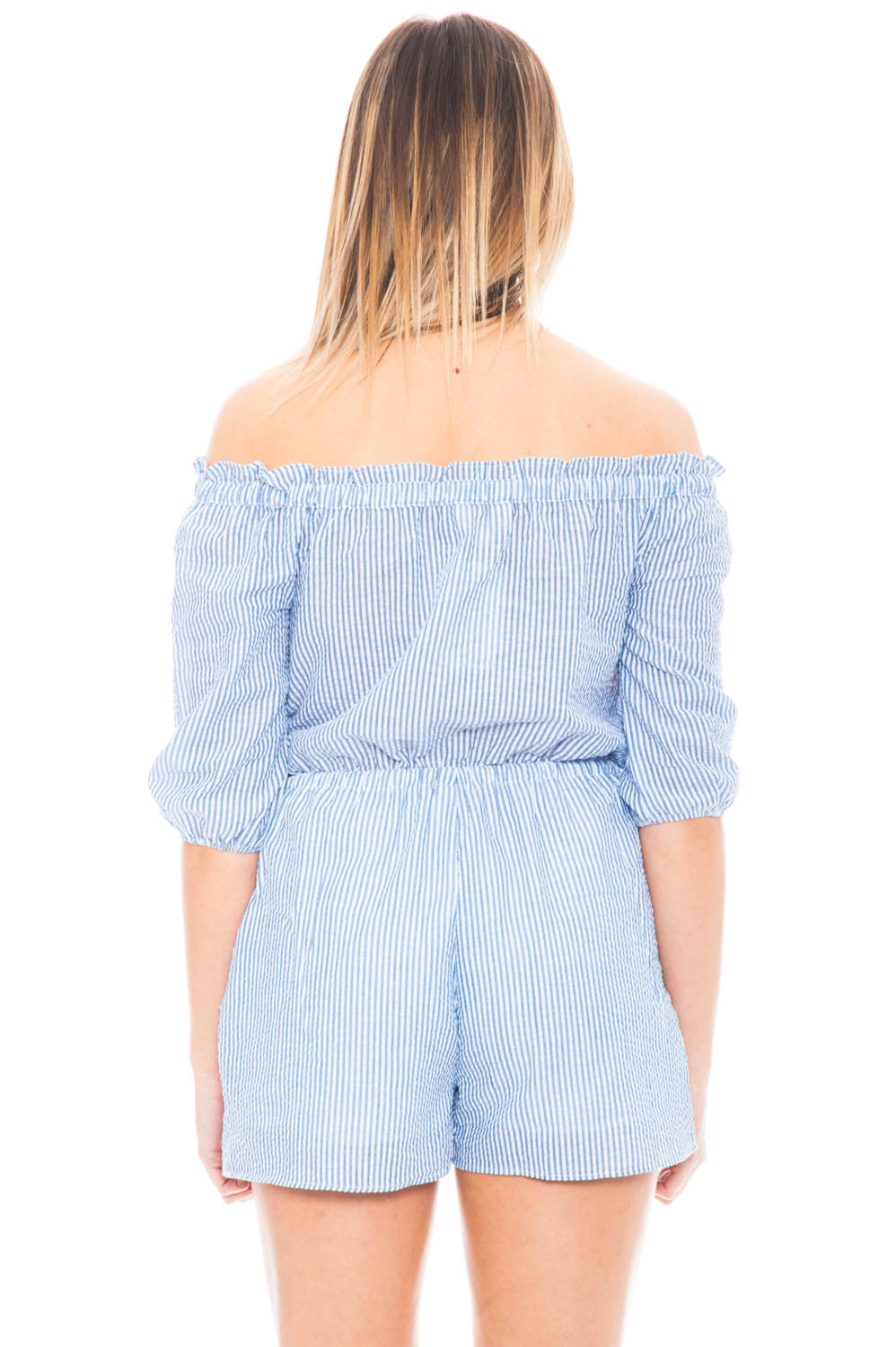 Romper - Seersucker Off Shoulder Romper with Pockets by Everly
