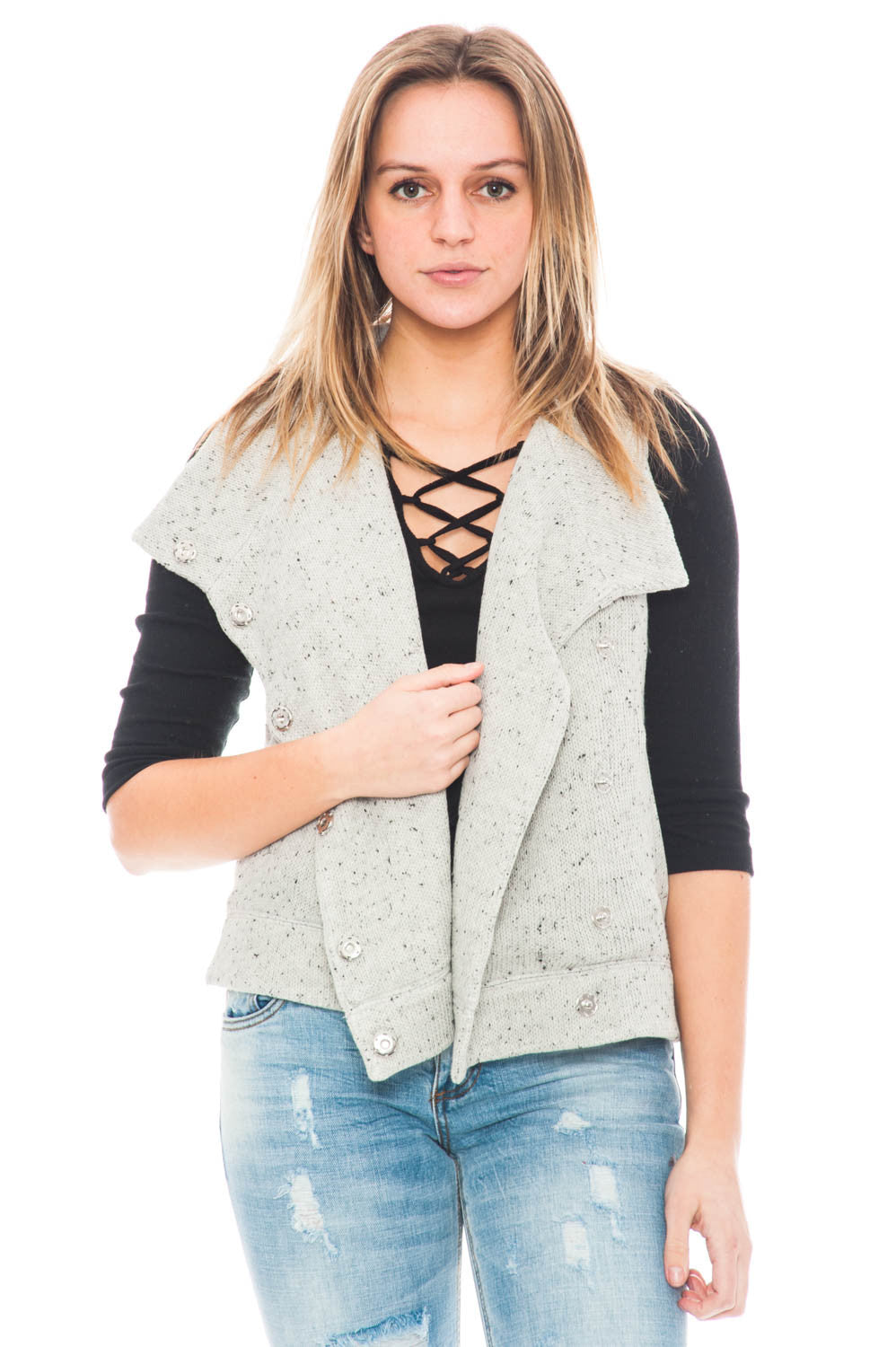 Vest - Daya by BB Dakota button up vest with collar