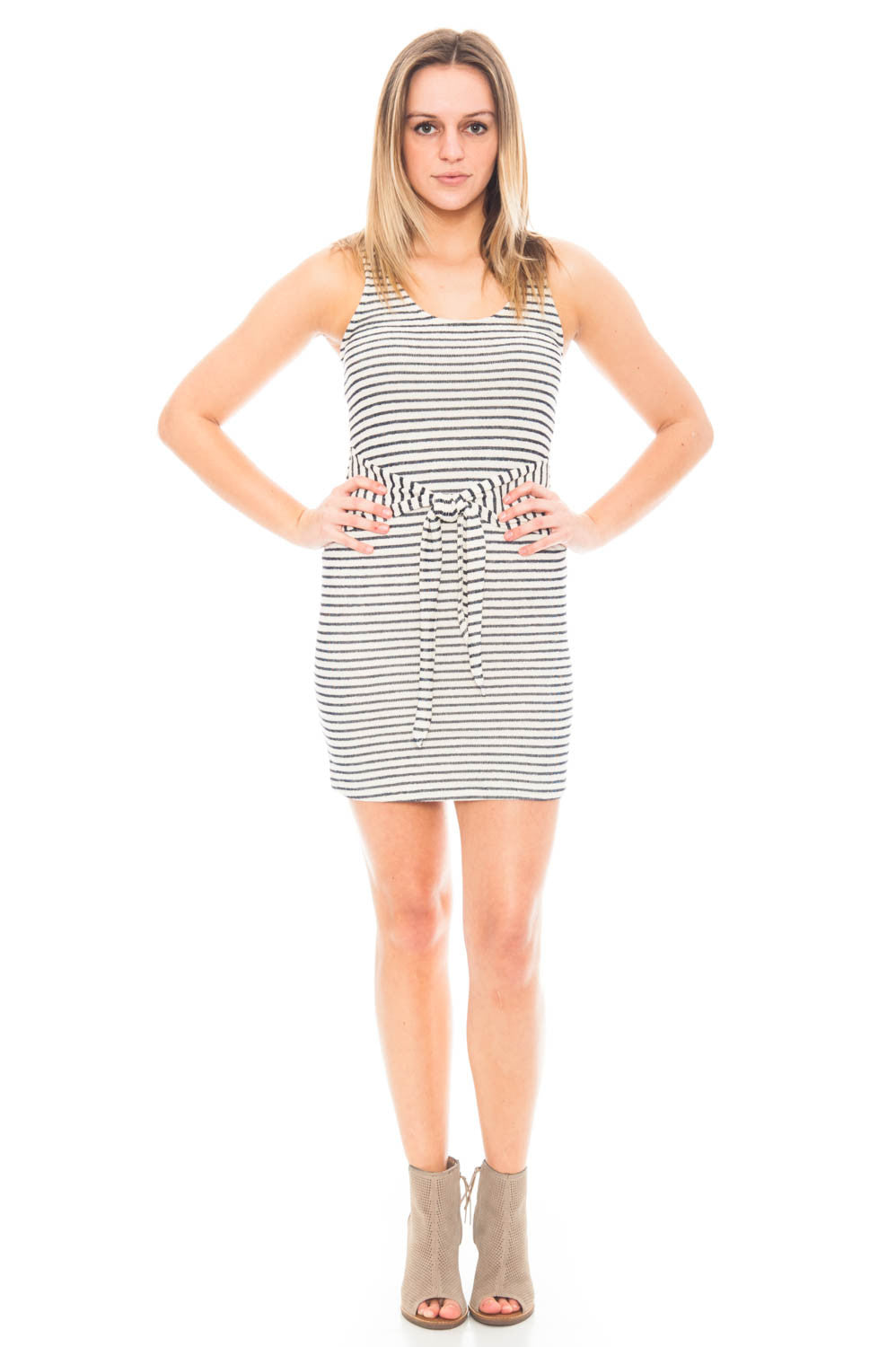 Dress - Striped Dress with Front Tie by Everly