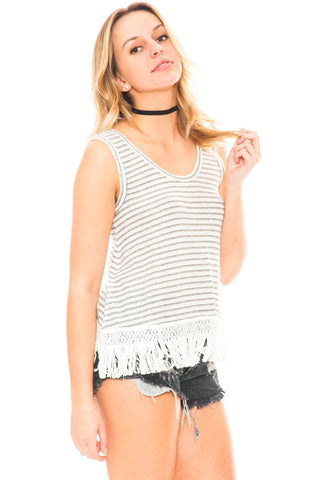 Tank - Nessa by BB Dakota Knit Fringe Top