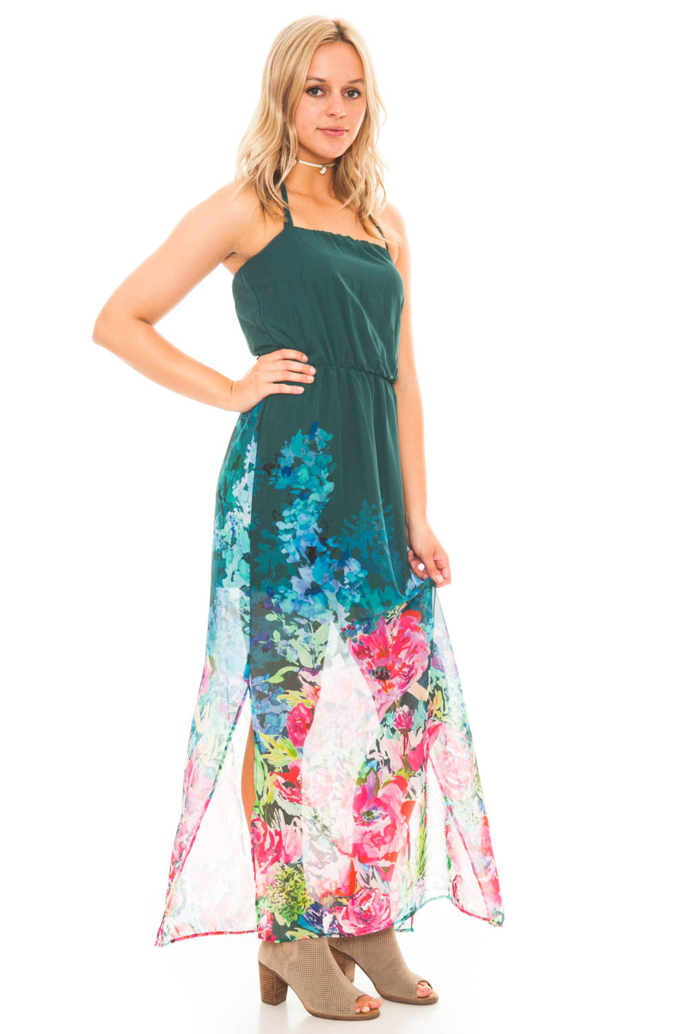 Dress - Halter Maxi Dress with Side Slits