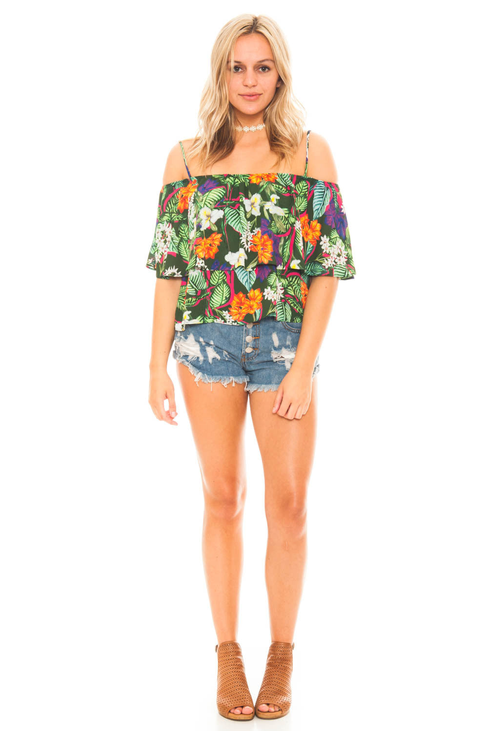 Shirt - Tropical Off Shoulder Top by Everly