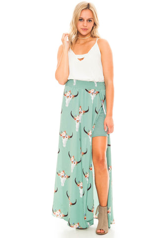 Skirt - Bullhead Print Maxi Skirt With Side Slit
