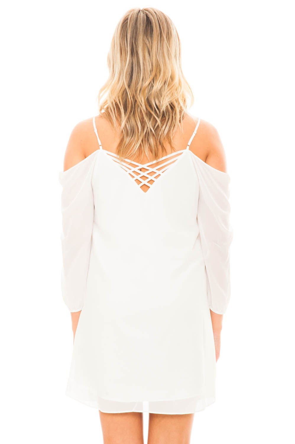 Dress - Criss Cross Back Cold Shoulder dress