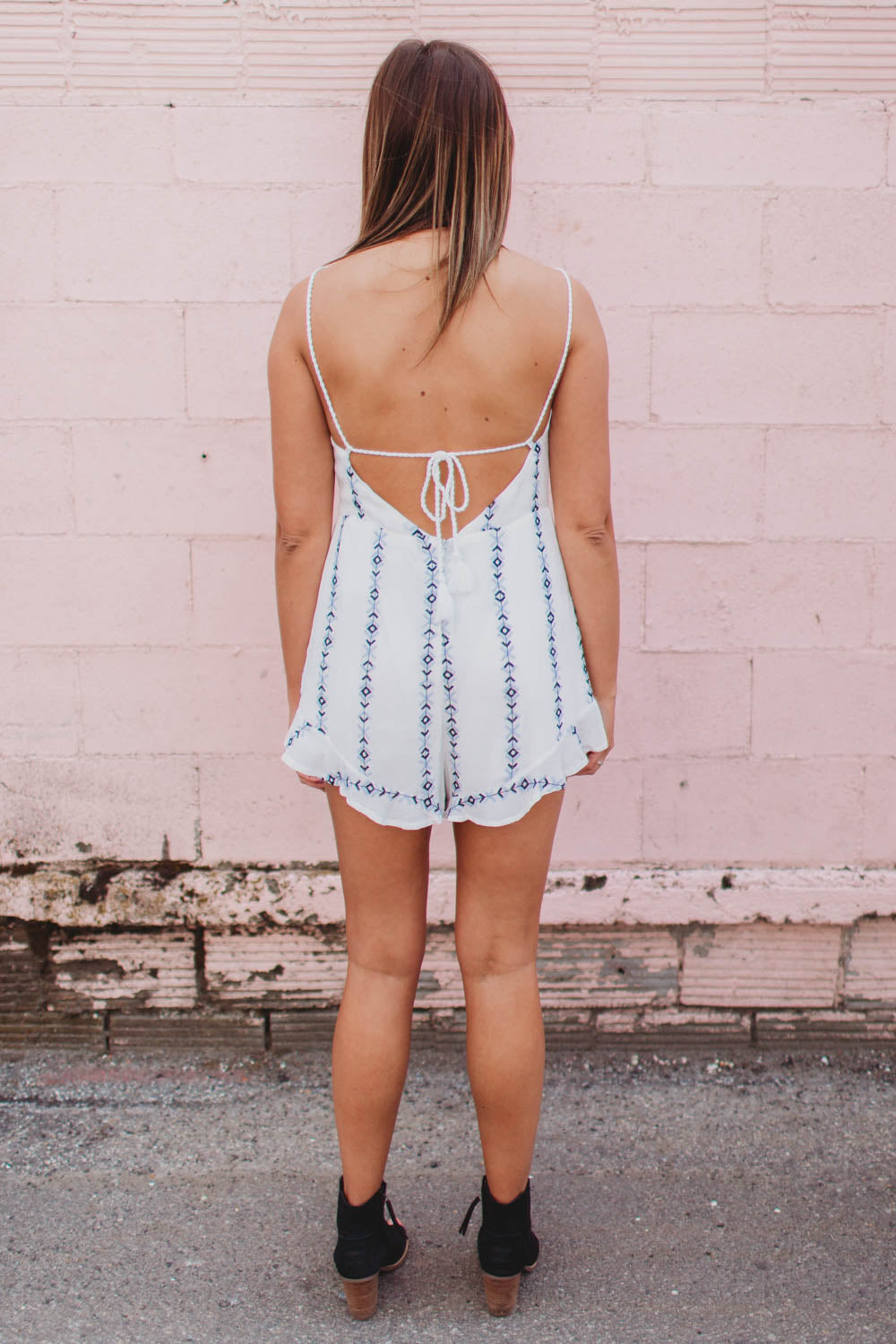 Romper - Embroidered romper with tie front and back