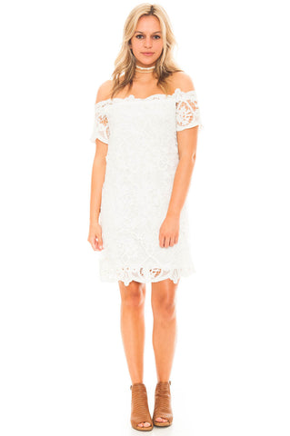 Dress - Lace Off Shoulder Dress by Lush