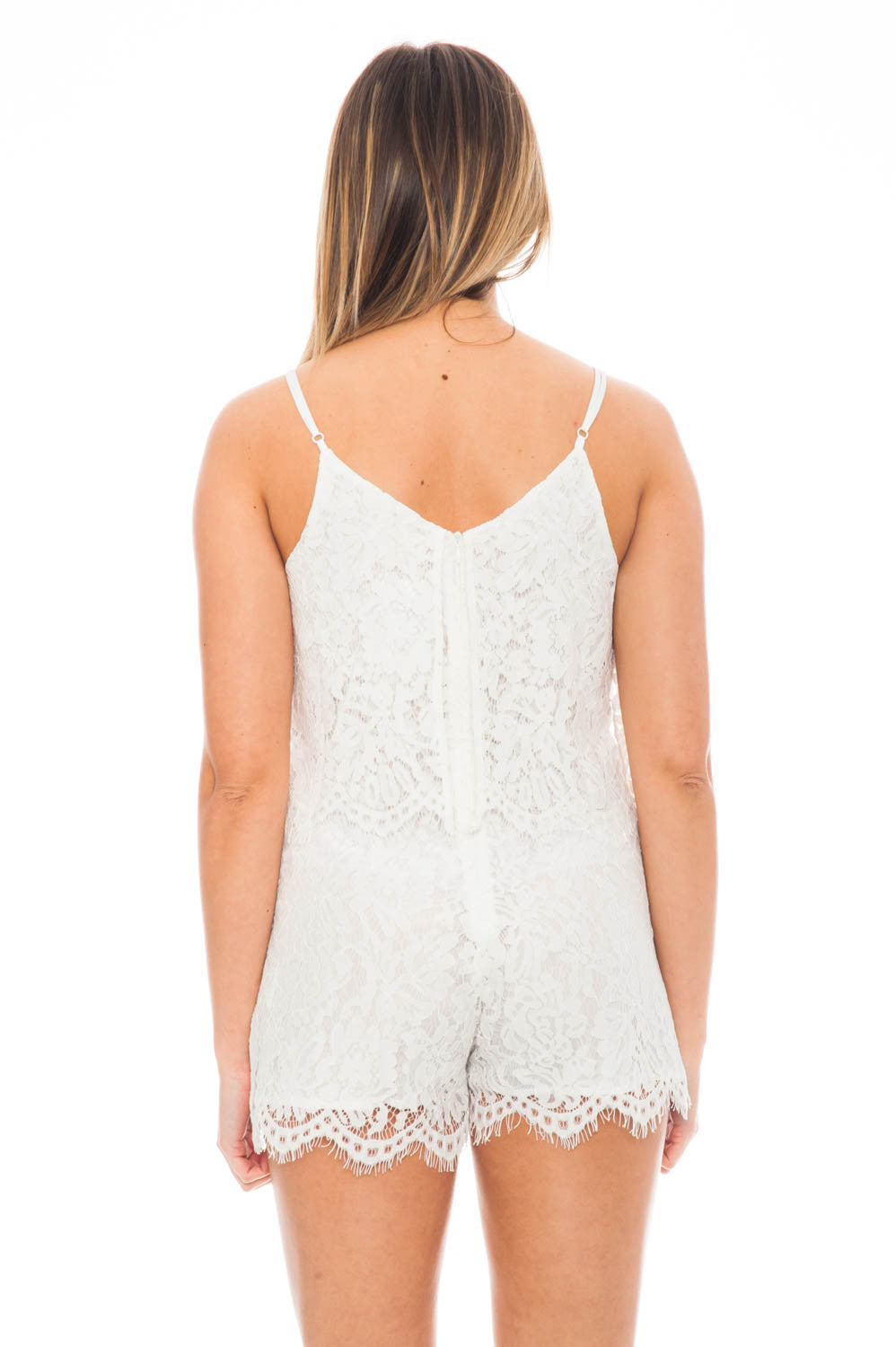 Romper - Lace Overlay Romper with Adjustable Straps by Everly