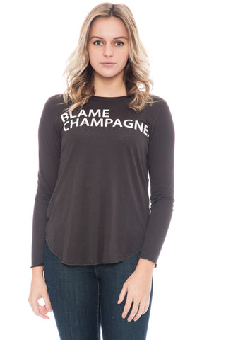 Shirt - Blame Champagne Scoop Hemline Top by Chaser