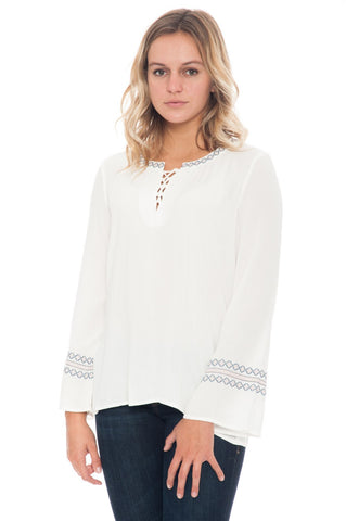Blouse - Lace Up with Sleeve Detail by Democracy