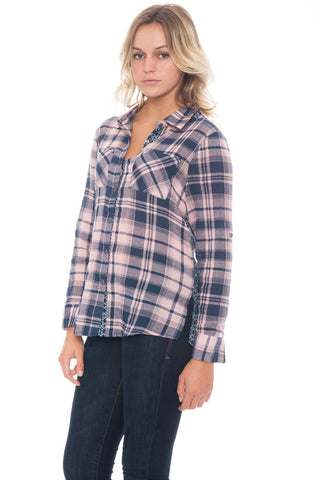 Shirt - Pink Checkered Detail (Final Sale)