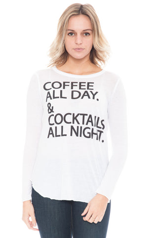 Shirt - Coffee All Day & Cocktails All Night Top by Chaser