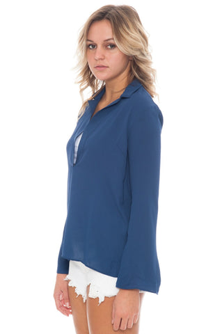 Top - Collared Chiffon V-Neck - 2