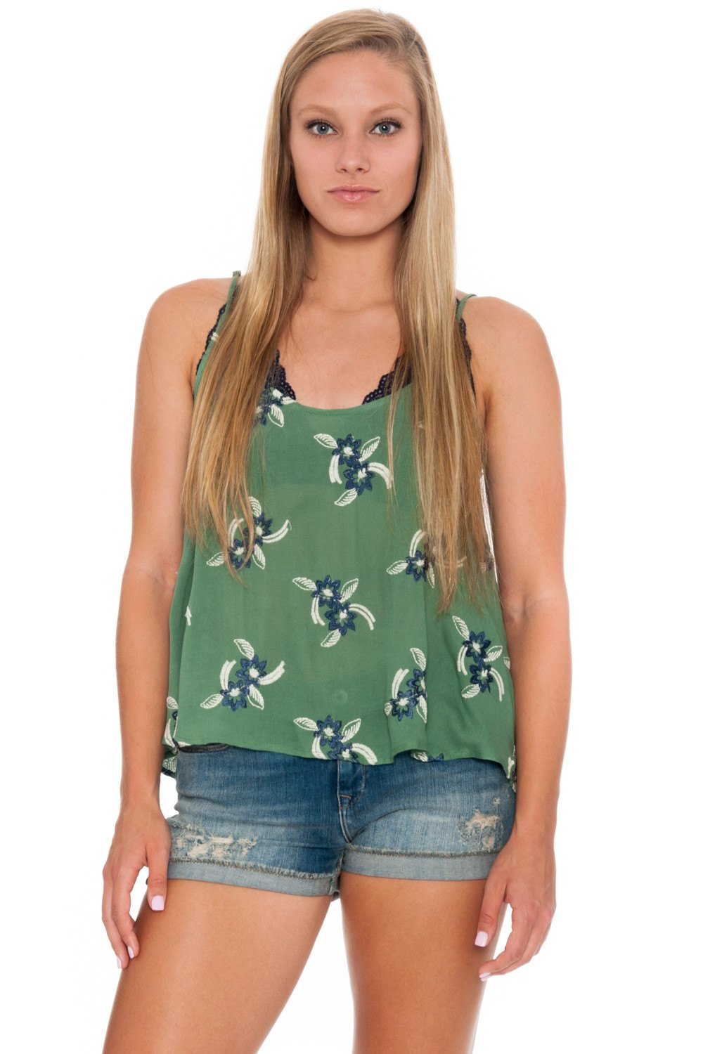Top - Shear Green with Open Back - 1